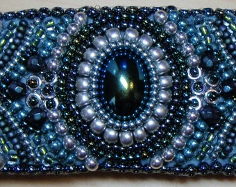 Midnight Frost bead embroidered barrette