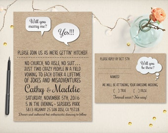Funny wedding invite Etsy