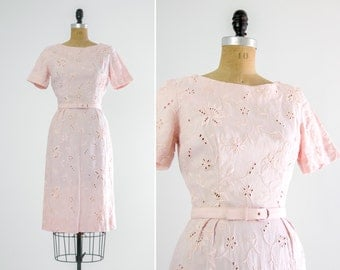 vintage 1950s pink dress | cotton eyelet dress | 50s dress small