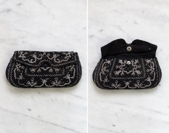 vintage 1920s purse | small black evening bag | antique beaded purse