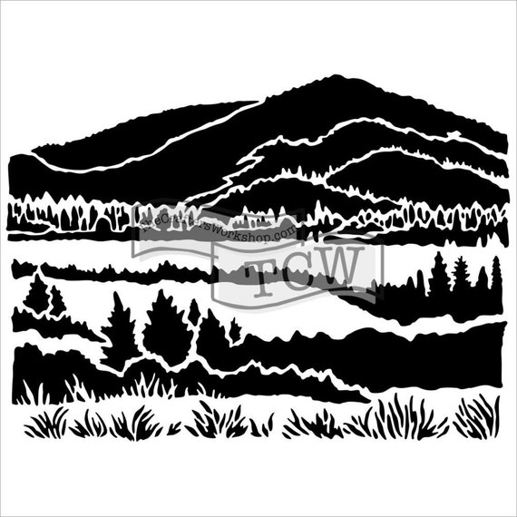 """Mountain View 6"""" x 6"""" Stencil /  template design perfect for mixed media, scrapbooking, journaling and so much more"""