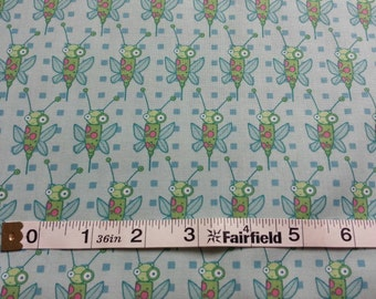 100% cotton Quilting fabric by the 1/2 yard.   Who loves bugs?  Fun funky cute happy blue green BUGS wings.  Directional, baby steam punk