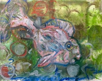 """Original Abstract Painting - """"Diving Fish"""" - 7"""" x 9"""" - Small Wall Art"""
