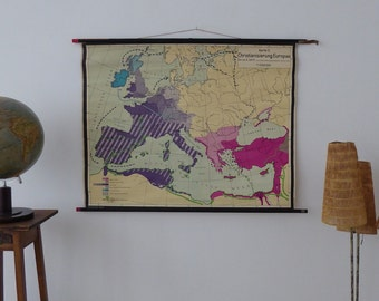 Vintage Map of the christanisation of Europe until the 9th century - Authentic Christanisation Map