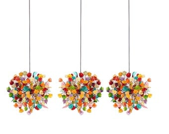 Triple Pendant Chandelier ceiling lighting -multicolored flowers and leaves for Kitchen Island, Dinning Room.