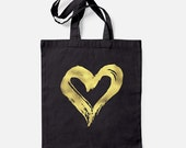 Painted Heart Black Cotton Tote Bag