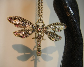 Steampunk necklace, Steampunk Dragonfly necklace. Steampunk Pendant. Gunmetal Grey and Pink