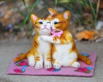 Needle Felted Cat Couple, Felt Cat, Cat Lover Gift, Cat Sculpture, Felt Animals, Wool Cats, Gift Idea, Wedding, Anniversary, Romantic, Sweet