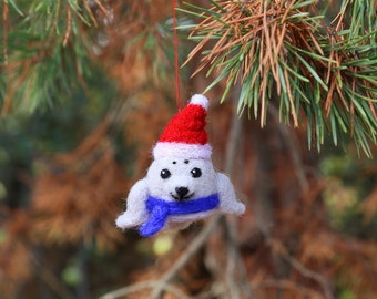 Needle Felted Seal, Christmas Ornaments, Christmas Decorations, Christmas Gifts, Christmas Tree Ornaments, Felt Animal Ornaments, Seal Plush