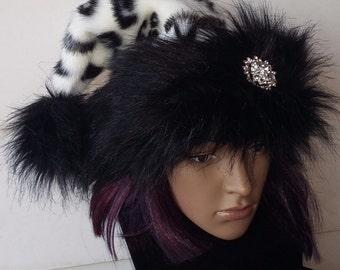 Limited Edition black and white Santa hat with crystal snowflake option