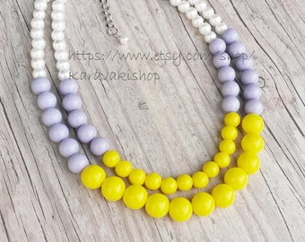 Yellow grey necklace/Grey yellow bridesmaid necklace/Bridesmaid gift/ Yellow grey wedding/Yellow light grey pearl necklace/Colorful necklace