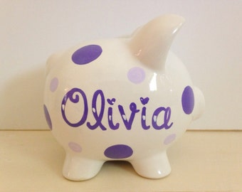 Small Personalized Ceramic Piggy Bank With Polka Dots