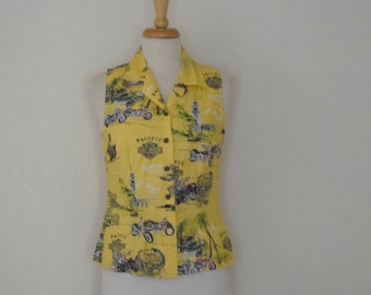 Sleeveless 'Pacific Harley Davidson' Button Front Blouse / Shirt - Women's Extra Small to Small