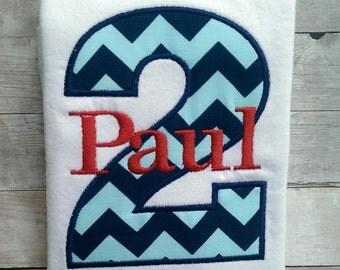Personalized Navy and Aqua Blue Chevron Second Birthday Shirt / Boys Birthday Shirt