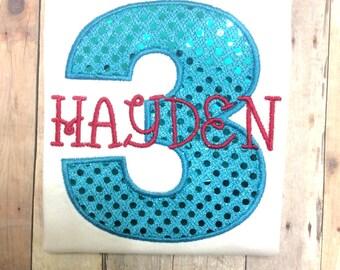 Personalized Sparkly Turquoise Girls Third Birthday Shirt / Girls Birthday Shirt