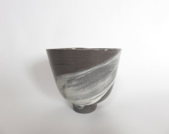 Ceramic cup, black cup, hand painted, wheel thrown, Ceramics and Potery