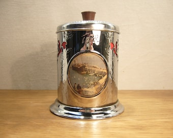 Vintage 1950s chrome plated tea caddy with inset pictures of Cornish harbours by Vernon Ward
