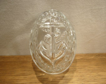 Vintage glass jelly mould with nautical anchor design