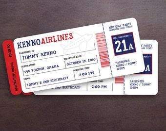 Plane Ticket Birthday Invitation