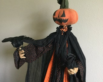 Orange Pumpkin Head Goblin handmade Halloween standing with black crow, black rose