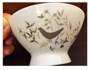 4 Bowls - Birds on Trees Design by Raymond Loewy, Rosenthal, Selb - Germany, Midcentury Modern, Footed