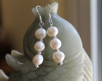 Long White Freshwater Pearl Earrings, sterling silver hook