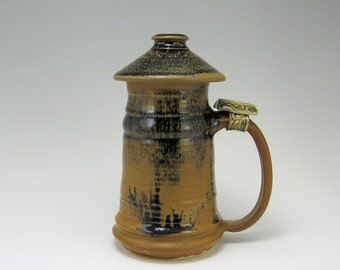 Stoneware Tankard with lid  24 oz Sedona Mocha