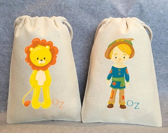 "6- Wizard Of Oz, Wizard of Oz party, Wizard of Oz Birthday, Dorothy, Scarecrow, Good witch,Wizard of Oz Party Favor Bags, 5""x8"""