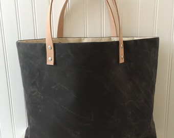 Waxed Canvas Tote with Tan Handles - Chocolate