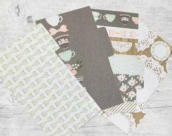 Filofax Dividers - Personal Size - Bows and Teacups Mint Theme - set of 4
