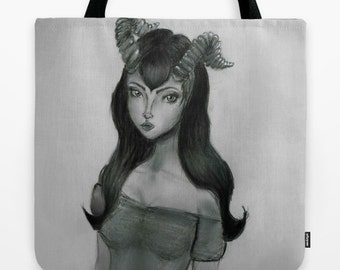 Fantasy Art Tote Bag -Hand Drawn Art - Girl with Horns - Grocery Bag - Made to Order