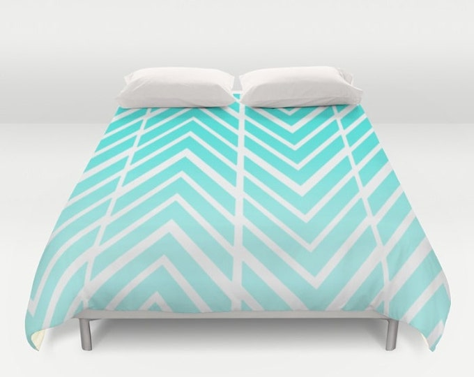 Turquoise Blue Print Duvet Cover - Zig Zag Art - Bed Spread - Bed Cover -  Duvet Cover Only - Bedding - Made to Order