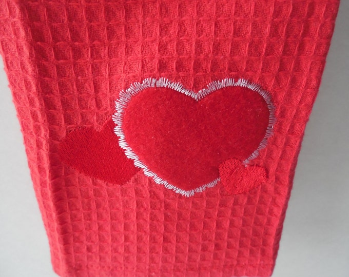 Valentine's Kitchen Hanging Towel - Red Crochet Top - Heart Kitchen Towel -  Handmade Crochet - Ready to Ship