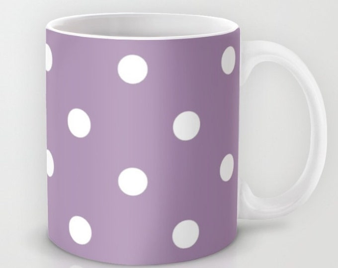 Polka Dot Mug -  Coffee Cup - Pink Polka Dots - White and Purple - Ceramic Mug - Made to Order