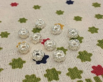 5 PCS, Rose Bead, Rose Spacer, Sterling Silver Rose Spacer, Carved Rose Bead, Carved Rose Rondelle, 1.5mm Diameter, DIY Jewelry Supplies