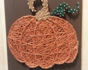 Fall Autumn Harvest Pumpkin String Art on Brown Plaque