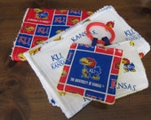 Baby University of Kansas - Set of 3 Items: 2 Burp Cloths and 1 Crinkle Toy