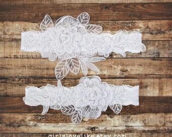 White Pearl Beaded  Lace Wedding Garter Set,White Bridal Garter, Garter Belt, Prom Garter,Toss Garter