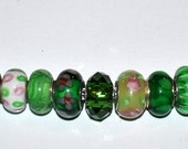 Lot of High Quality Handcrafted Green Murano European Beads