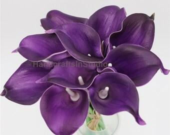 Eggplant Purple Calla Lilies Bouquet Natural PU Calla Lily Purple Flowers For Bridal Bridesmaids Bouquets, Boutonnieres, Corsage