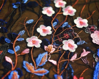 black lace fabric with multi-color flowers, heavy embroidered lace fabric with colorful florals, deluxe embroidery mesh lace fabric