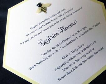 Honeycomb themed baby invitation