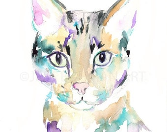 HUGE SALE Savannah Cat Watercolor Print, Cat Watercolor Print, Cat Watercolor Painting, Print of Cat, Tabby Cat Art, Cat illustration, Print