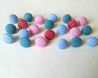 Mix Fabric Button Push Pins - Fabric Push Pins - Light Blue - Green - Red Pin - Polka Dot Push Pins - Fabric Thumbtacks - Fabric Covered Pin