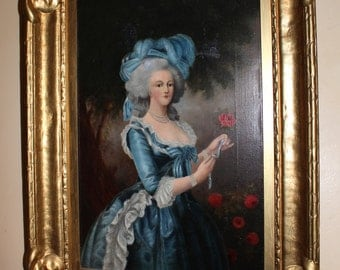 Antique Rembrandt Peale Original Realism Portrait of Marie Antoinette After Louise-Elisabeth Vigee Lebrun American Neoclassical Oil Painting