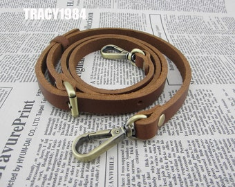 Brown Adjustable Real Leather Purse Strap 120cm long 1.2cm wide