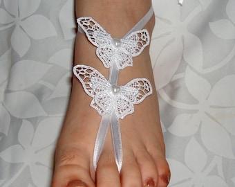 White butterfly wedding barefoot sandals, White Wedding Sandal Bridesmaid gift