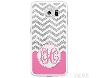 Samsung Galaxy S6 Case, Samsung Galaxy S6 Edge Case, Samsung Galaxy S5 Case, Silver Glitter Chevron & Pink, Christmas Gift (368)