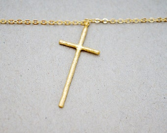 Narrow Cross Charm Necklace, Simple Minimal Minimalist Charm Everyday Boho Gift for her, Necklace