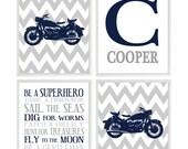 Motorcycle Nursery, Baby Boy Wall Art, Personalized Nursery Art, Navy Gray, Chevron Print, Boy Room Decor, Toddler Bedroom, Motorbike